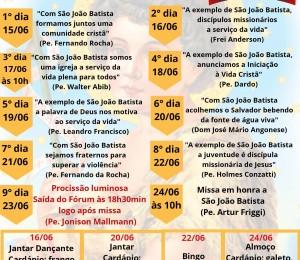 Paróquia São João Batista organiza festa no mês do padroeiro
